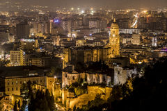 Cathedral, Malaga night, Spain Stock Photos