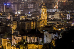 Cathedral, Malaga night, Spain Stock Image