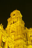 Cathedral in Malaga, Spain. Golden colored Cathedral at night in Malaga, Andalusia, Spain Stock Photography
