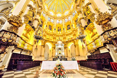 Cathedral, in Malaga Spain. Wide and beautiful perspective inside artistic traditional cathedral, in Malaga - Spain royalty free stock images