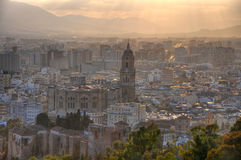 Cathedral of Malaga at sunset Stock Images