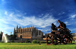 Cathedral of Mallorca. A view across a beautiful green park to the Cathedral of Mallorca (sometimes referred to as La Seu) in the distance Royalty Free Stock Photos