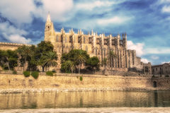 The cathedral in Mallorca. With a blue sky Royalty Free Stock Photography
