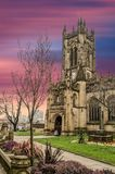 The cathedral of manchester at sunset, England. Uk stock photos
