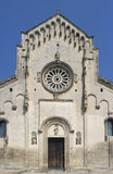 The cathedral of Matera, Italy. The façade of the 13th-century Cathedral (Duomo) of Matera (Basilicata, southern Italy), in Apulian Romanesque style. Matera stock images