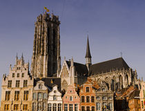 Cathedral mechelen. Gothic cathedral behind a row of ancient houses Stock Images