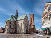 Cathedral in old medieval city Ribe, Denmark stock image