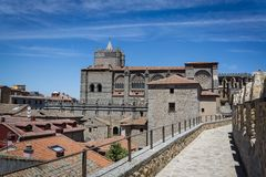 Medieval city walls, Avila, Castilla y Leon, Spain stock photography