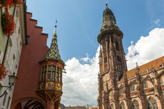 Cathedral And Merchant Hall In Freiburg Stock Photos
