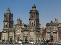 Cathedral of Mexico City, Mexico. A view from Zocalo (central square of Mexico City) to the Cathedral Stock Photography