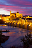 Cathedral (Mezquita) of Cordoba at night, Spain Royalty Free Stock Images