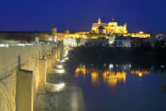 Cathedral Mezquita and Roman bridge at night royalty free stock photo