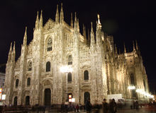 Cathedral in Milan, Italy at night Stock Photo