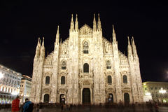 Cathedral in Milan, Italy at night Royalty Free Stock Photos