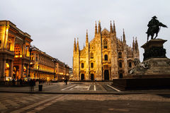 Cathedral of Milan, Italy at sunrise Stock Images