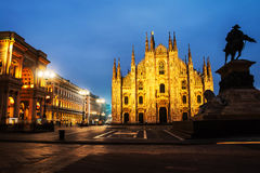 Cathedral of Milan, Italy at sunset Royalty Free Stock Photos