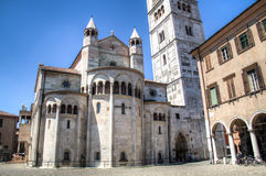 The cathedral of Modena in Italy. The Roman Catholic cathedral in Modena, Italy which was buit in 1184 and is UNESCO World Heritage Site stock photography