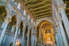 Indoor sight in the Cathedral of Monreale, in the province of Palermo. Sicily, southern Italy. The Cathedral of Monreale is a church in Monreale, Metropolitan royalty free stock image