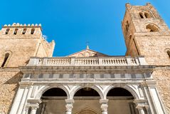 The Cathedral of Monreale facade, Sicily, Italy stock photography