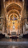 Cathedral of Monreale- Palermo-Sicily. Medieval Norman architecture. Cathedral of Monreale, interior with its golden mosaics royalty free stock photography