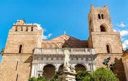 The Cathedral of Monreale with statue of Madonna on the front, Sicily. Italy royalty free stock images