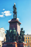 Cathedral and monument to Alexander II in Helsinki Royalty Free Stock Photography