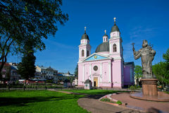 Cathedral and the monument to Metropolitan of Bukovinian Stock Photography