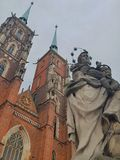 Cathedral and monument in Wroclaw royalty free stock image