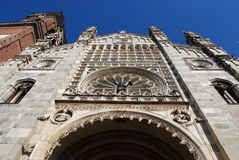 Cathedral, Monza. Gothic cathedral facade and bell tower on blue sky, Monza, Lombardy, Italy Royalty Free Stock Photos