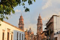 Cathedral of Morelia, Michoacan, Mexico. Colonial Spanish Catholic Cathedral of Morelia, Michoacan, Mexico Stock Photo