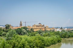 The Cathedral mosque and bell tower of Cordoba from the bridge o. The bell tower and Mezquita de Córdoba,the Great Mosque of Córdoba, Mosque-Cathedral royalty free stock photos