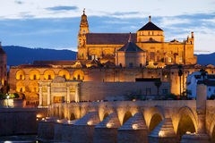 Cathedral Mosque of Cordoba. Mezquita Cathedral (The Great Mosque) illuminated at dusk in Cordoba, Andalusia, Spain Stock Photo