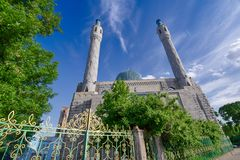 Muslim Mosque with minarets close-up Stock Images