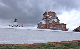 Cathedral of the Mother of God of All Who Sorrow and Joy Trinity. Church in Sviyazhsk on a cloudy day Stock Images