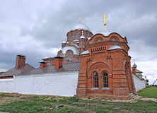 Cathedral of the Mother of God of All Who Sorrow and Joy Trinity. Church in Sviyazhsk on a cloudy day stock photo