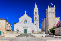 Cathedral n Supetar town, Croatia. Stock Photos