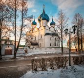 Cathedral of the Nativity of the Blessed Virgin. Suzdal. Cathedral of the Nativity of the Blessed Virgin in Suzdal. Orthodox church. Suzdal Kremlin at sunset Stock Image
