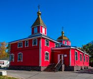 Cathedral of the Nativity of Christ is the oldest wooden church in the city of Khabarovsk stock photo