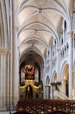 Cathedral nave in Lausanne. Viewed from the back of the church. Switzerland Stock Images