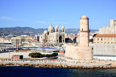 The Cathedral near harbor of Marseille City Royalty Free Stock Photos