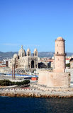 The Cathedral near harbor of Marseille City Royalty Free Stock Photo