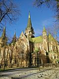 Cathedral. Neo-Gothic building church in Lviv center of Europe Royalty Free Stock Images