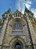 Cathedral. Neo-Gothic building church in Lviv center of Europe Royalty Free Stock Photo