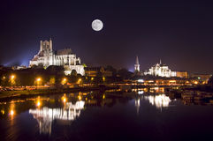 Cathedral by night in Auxerre Stock Images