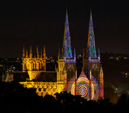 Church in colour. Cathedral at night covered in light Stock Photography