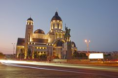Cathedral in night. Orthodox cathedral and night trafiic in Romania Stock Images