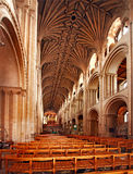 The Cathedral at Norwich. This view of the nave of the 900 year old Norwich cathedral shows some of the wonderful architecture, and splendid vaulted ceiling Stock Image