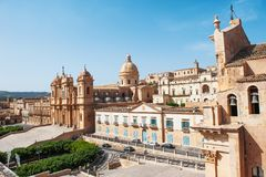 Cathedral of Noto, example of baroque architecture, Sicily, Italy stock photography