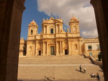 Cathedral in Noto. Photo took in Noto on Sicily royalty free stock images