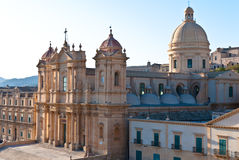 The cathedral of Noto, Siciliy. The Cathedral of Noto, Syracuse, Italy. Builded in 1776 is considered the jewel of European Baroque, partially collapsed on 13 stock image